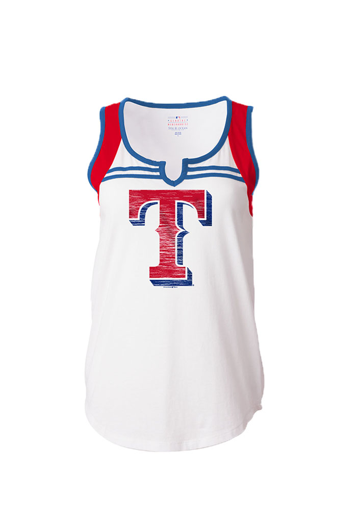 Texas Rangers Womens White V-Notch Tank Top - Image 1
