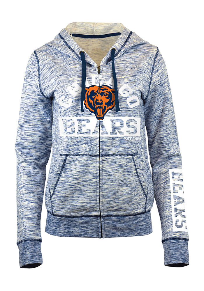 Chicago Bears Womens Navy Blue French Terry Long Sleeve Full Zip Jacket - Image 1