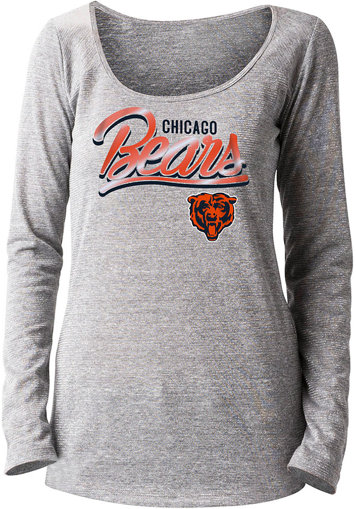 Chicago Bears Womens Grey Foil Long Sleeve Scoop Neck - Image 1