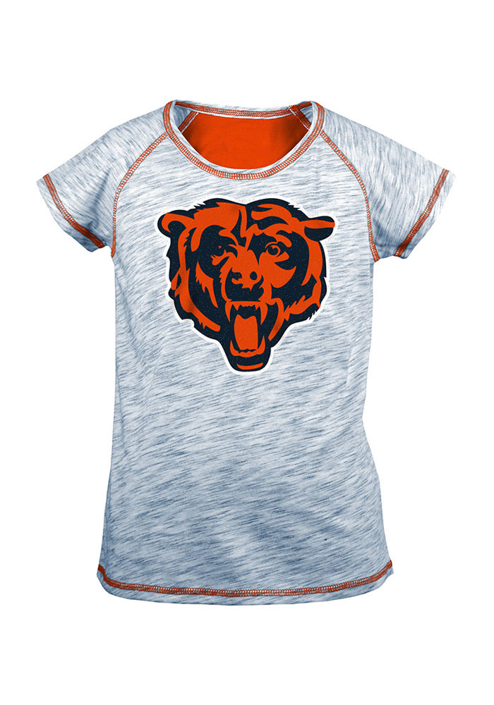 Chicago Bears Girls Navy Blue Space Dye Short Sleeve Tee - Image 1