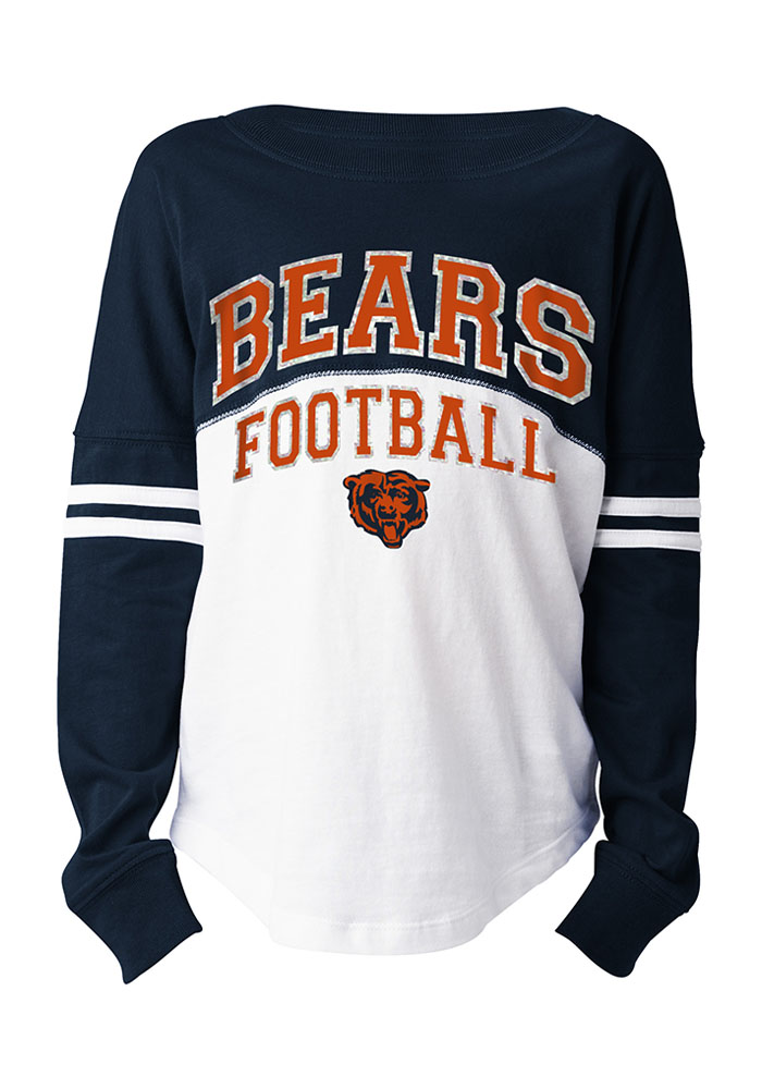 Chicago Bears Girls White Varsity Long Sleeve T-shirt, White, 61% Poly/ 34% Ray/ 4% Span, Size S