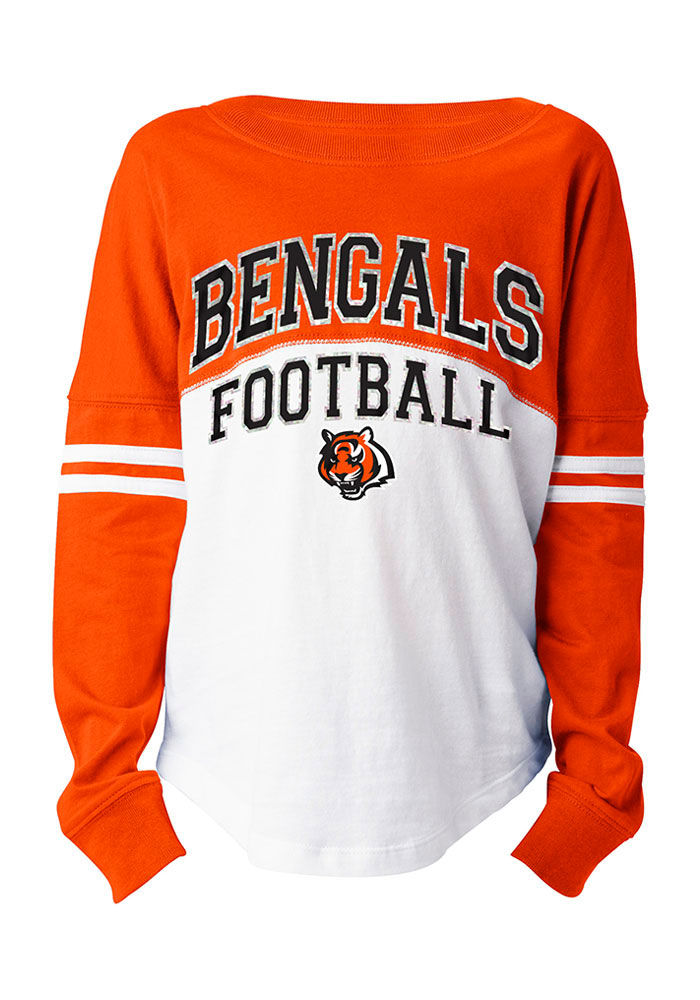 Cincinnati Bengals Girls White Varsity Long Sleeve T-shirt - Image 1
