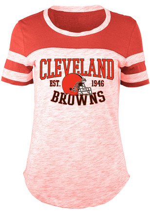 Cleveland Browns Womens Novelty Red Scoop T-Shirt