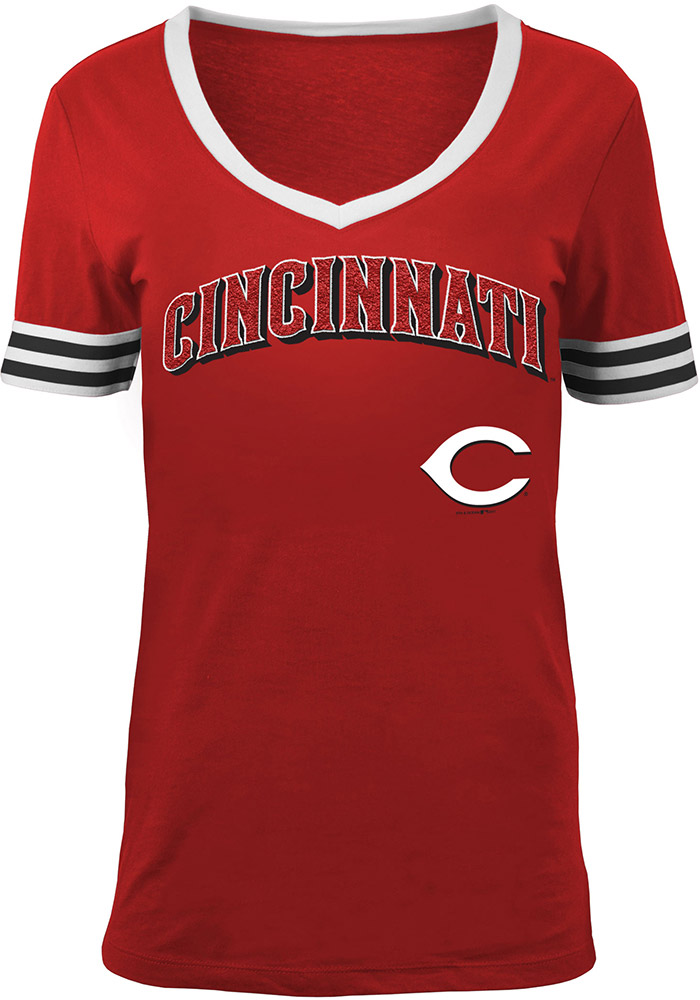 Cincinnati Reds Womens Red Opening Night V-Neck - Image 1
