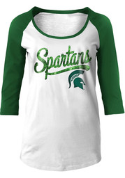 Michigan State Spartans Womens Athletic Green Scoop Neck Tee