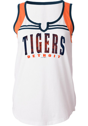 Detroit Tigers Womens White Athletic Tank Top