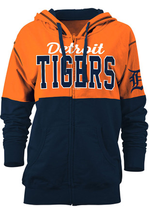 Detroit Tigers Womens Orange Athletic Full Zip Jacket