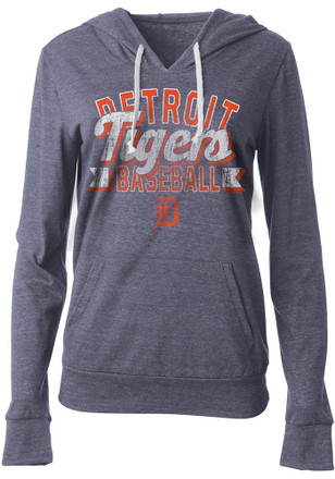 Detroit Tigers Womens Navy Blue Tri-Blend Hoodie