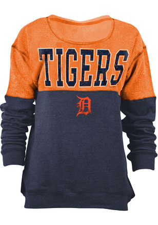 Detroit Tigers Womens Tri-Blend Orange Crew Sweatshirt