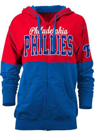 Phillies Womens Red Athletic Full Zip Jacket