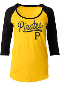 Pittsburgh Pirates Womens Athletic Gold Scoop Neck Tee