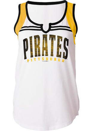 Pittsburgh Pirates Womens White Athletic Tank Top