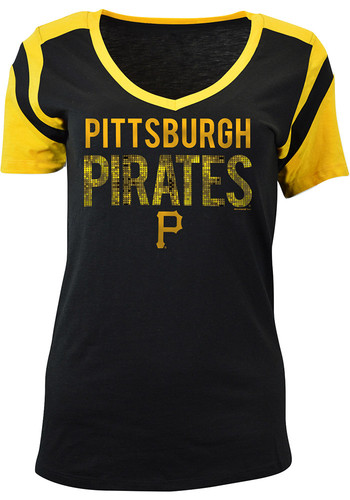 Pittsburgh Pirates Womens Black Slub V Neck T Shirt 88881439