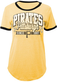 detailed pictures 68963 eaaa4 Pittsburgh Pirates Womens Gold Tri-Blend T-Shirt