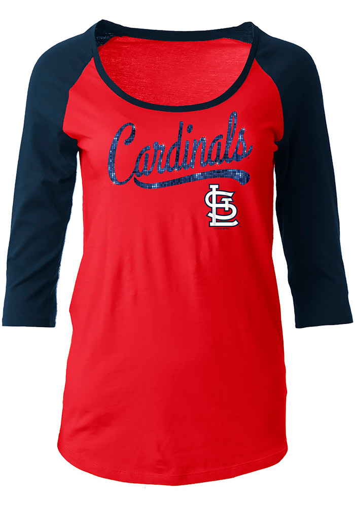 STL Cardinals Womens Red Athletic Long Sleeve Scoop Neck - Image 1