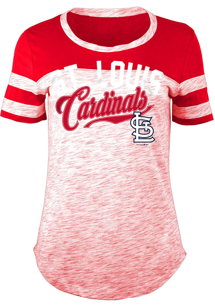 St louis cardinals womens red novelty short sleeve crew t for St louis t shirt printing