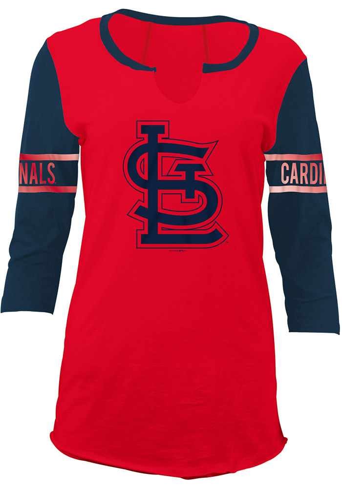 St Louis Cardinals Womens Red Slub Long Sleeve Women's V-Neck - Image 1