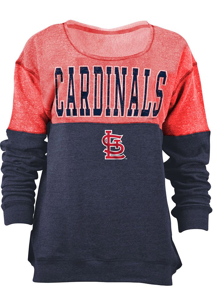 St Louis Cardinals Womens Red Tri-Blend Crew Sweatshirt - Image 1