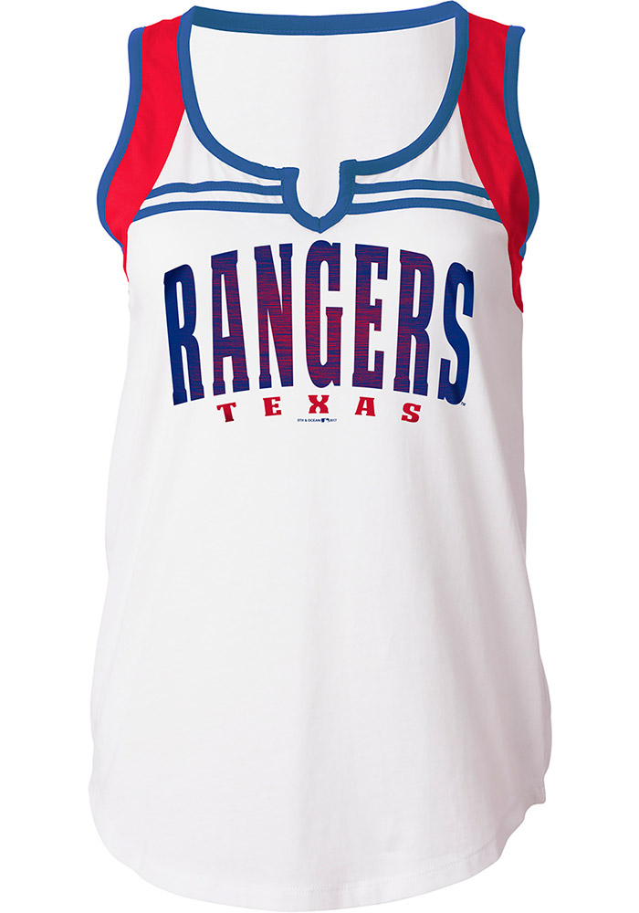 Texas Rangers Womens White Athletic Tank Top - Image 1