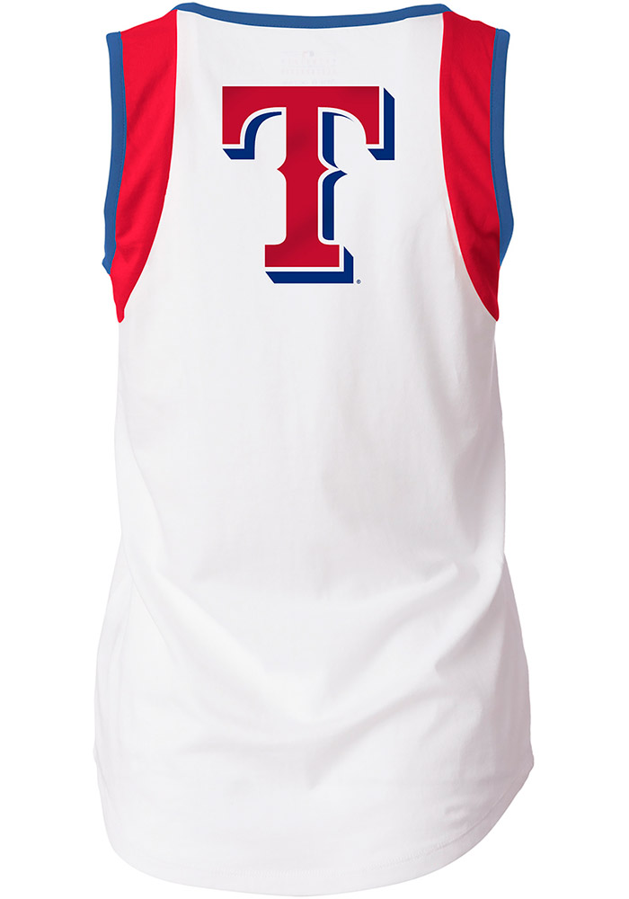 Texas Rangers Womens White Athletic Tank Top - Image 2