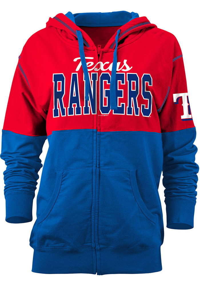 Texas Rangers Womens Red Athletic Long Sleeve Full Zip Jacket - Image 1