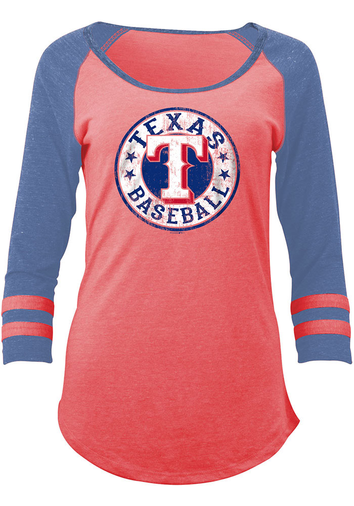 Texas Rangers Womens Red Tri-Blend Long Sleeve Women's Scoop - Image 1