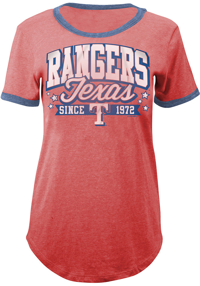 Texas Rangers Womens Red Tri-Blend Short Sleeve T-Shirt - Image 1