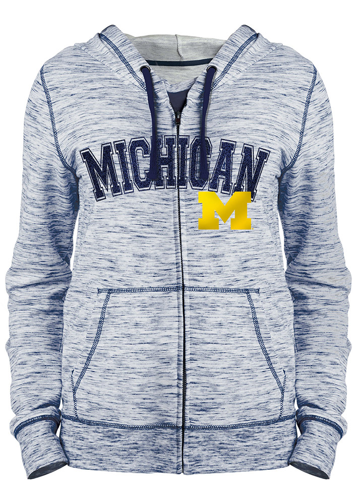 Michigan Wolverines Juniors Navy Blue Space Dye Long Sleeve Full Zip Jacket  - Image 1 9e1fe8f9f
