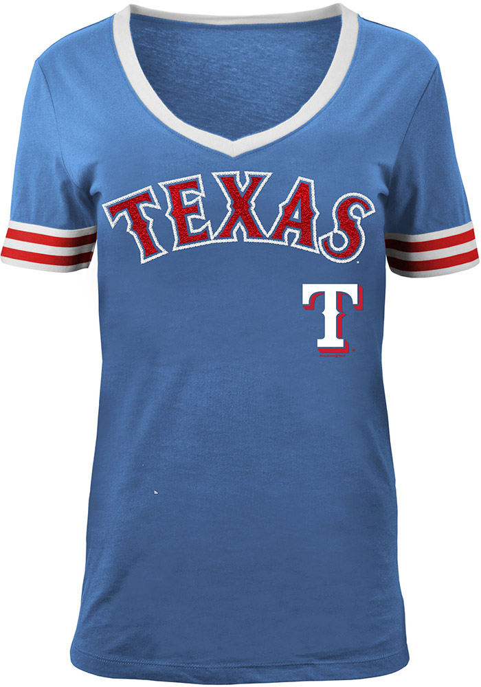 Texas Rangers Womens Blue Opening Night V-Neck - Image 1
