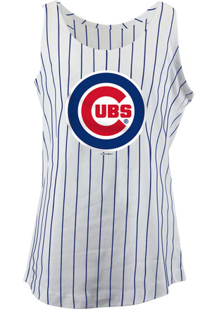 Chicago Cubs Girls White Pinstripes Tank Top