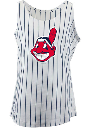 Cleveland Indians Girls White Pinstripes Tank Top