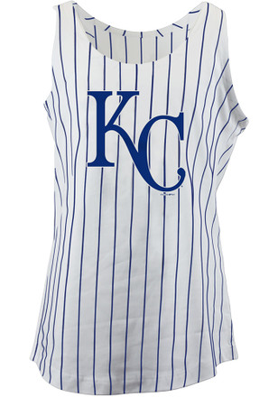 Kansas City Royals Girls White Pinstripes Tank Top