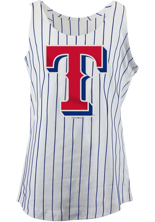 Texas Rangers Girls White Pinstripes Tank Top