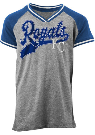 Kansas City Royals Girls Blue Glitter script Fashion T-Shirt