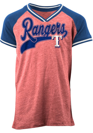 Texas Rangers Girls Blue Glitter Script Fashion T-Shirt