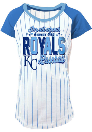 Kansas City Royals Girls White Glitter Bold Pinstripe Fashion T-Shirt