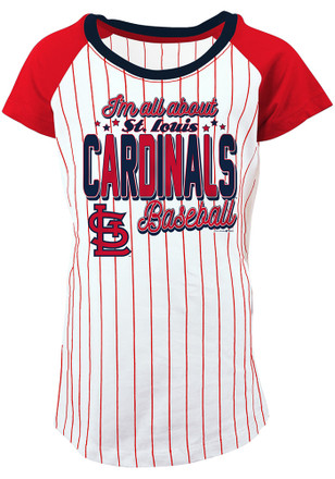 St Louis Cardinals Girls White Glitter Bold Pinstripe Fashion T-Shirt