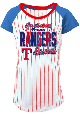 Texas Rangers Girls White Glitter Bold Pinstripe Fashion T-Shirt