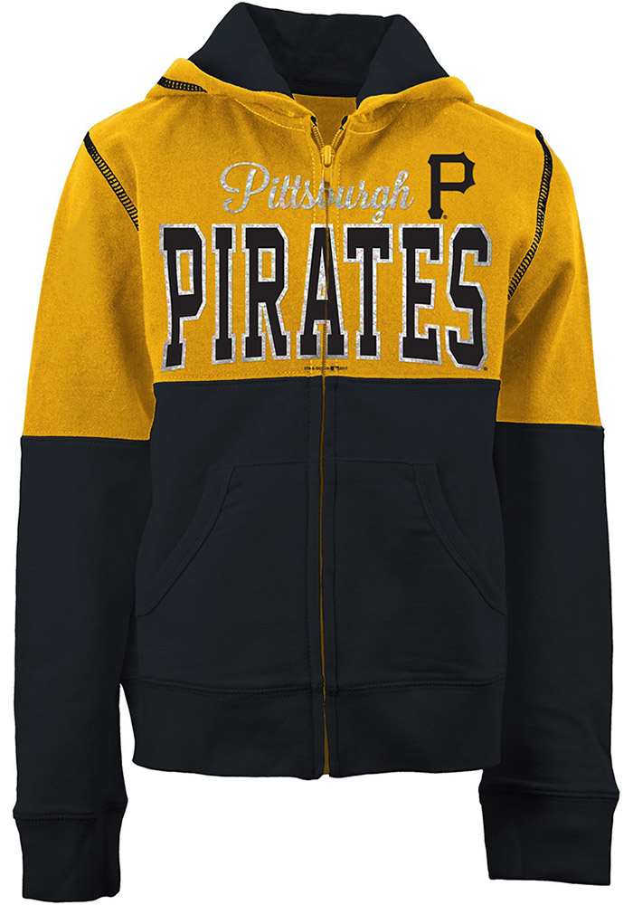 Pittsburgh Pirates Girls Gold Color Block Long Sleeve Full Zip Jacket - Image 1