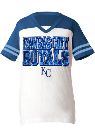 Kansas City Royals Girls White Glitter Football Fashion T-Shirt