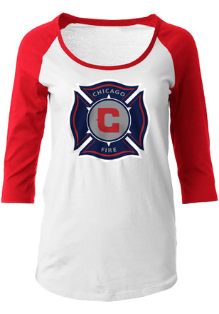 Chicago Fire Womens Glitter White Scoop Neck Tee