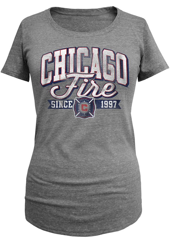 Chicago Fire Womens Grey Triblend Short Sleeve Scoop - Image 1