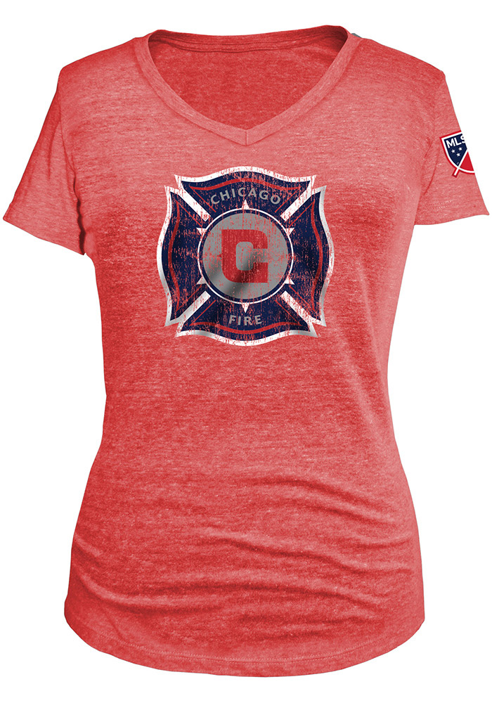 Chicago Fire Womens Navy Blue Triblend V-Neck - Image 1