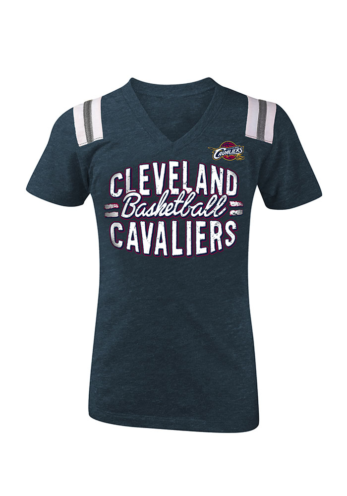Cleveland Cavaliers Girls Navy Blue Script Short Sleeve Fashion T-Shirt - Image 1