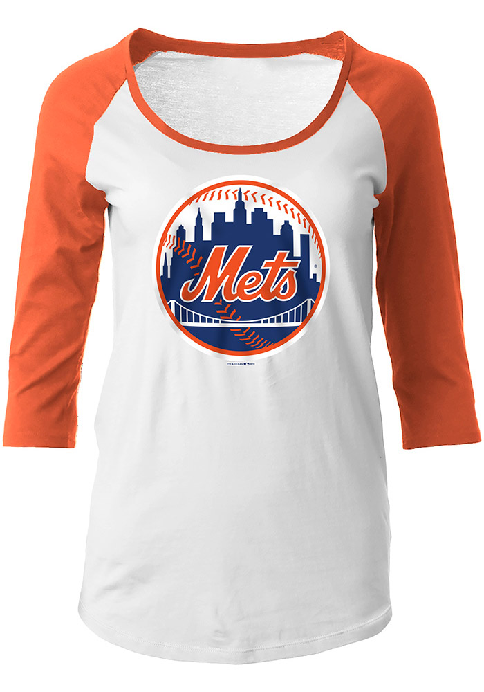 NY Mets Womens White Glitter Long Sleeve Scoop Neck - Image 1