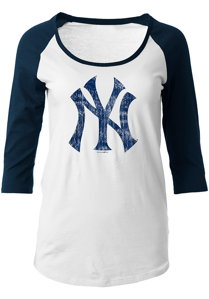 NY Yankees Womens White Raglan Long Sleeve Scoop Neck - 88881716 c5a52285a