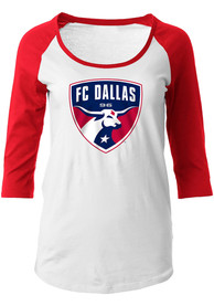 FC Dallas Womens Raglan White Scoop Neck Tee