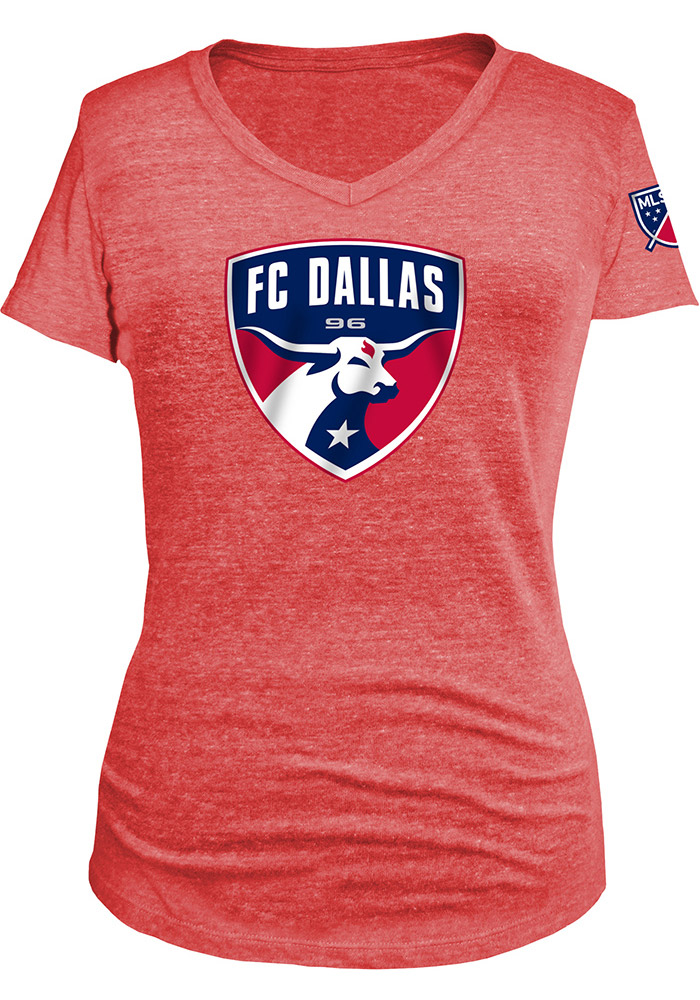 FC Dallas Womens Red Triblend V-Neck - Image 1