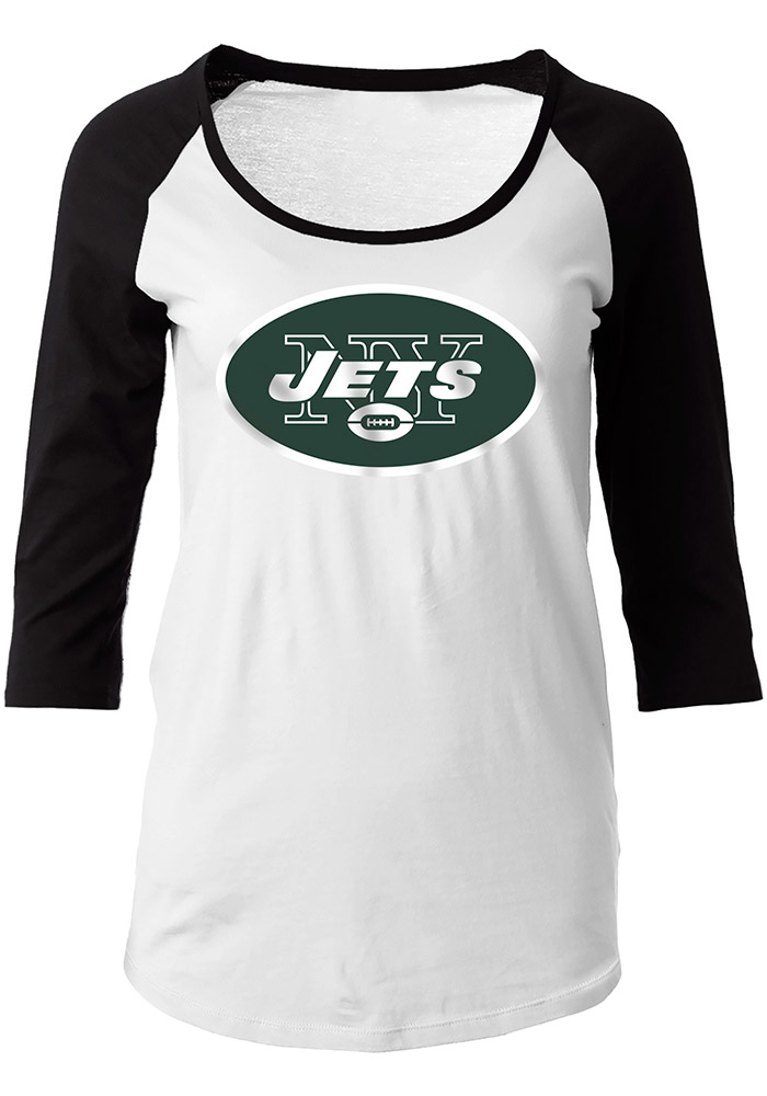 New York Womens White Primary Logo Long Sleeve Scoop Neck - Image 1