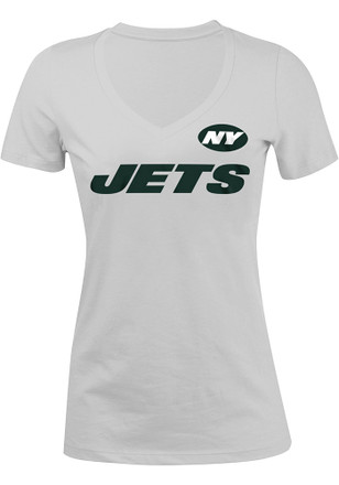 New York Womens White Glitter V-Neck
